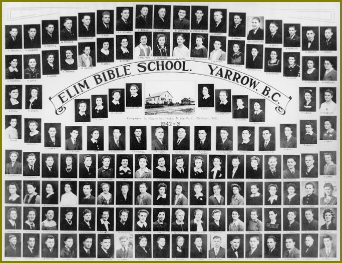 Yarrow Elim Bible School 1942-43