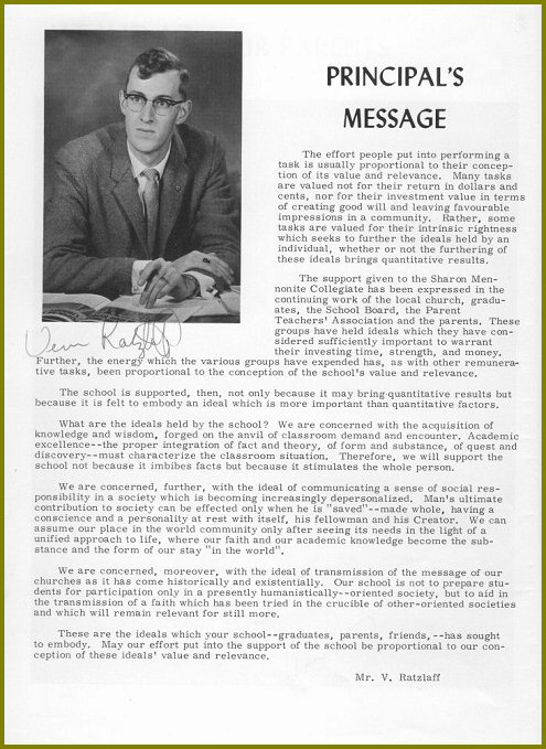 Sharon Mennonite Collegiate Principal's Message 1964