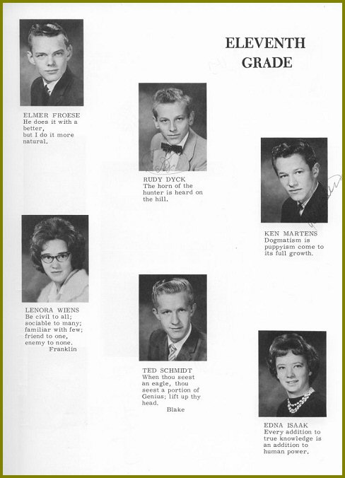 Sharon Mennonite Collegiate Grade Eleven Class of 1964