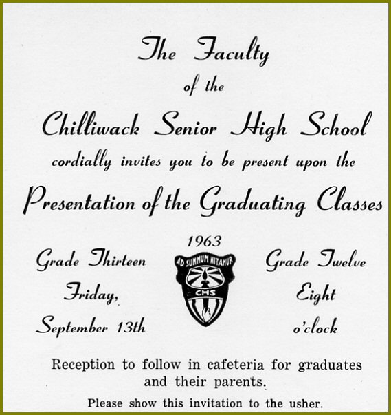 Chilliwack Senior High School: 1963 Graduation Ceremony