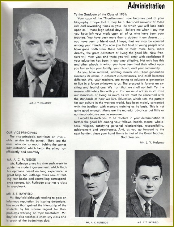 CHS Principal and Vice-Principals - 1961