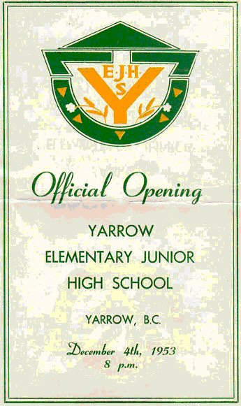 Program Cover: Yarrow Elementary Junior High School