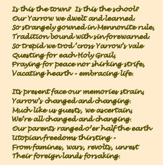 Yarrow School Reunion Poem