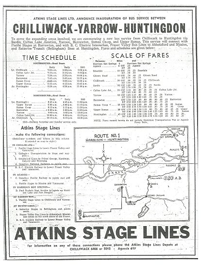 Atkins Stage Lines Schedule